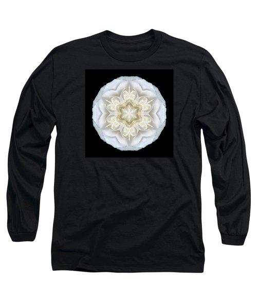 White Begonia II Flower Mandala Long Sleeve T-Shirt by David J Bookbinder