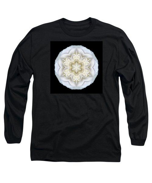 White Begonia II Flower Mandala Long Sleeve T-Shirt