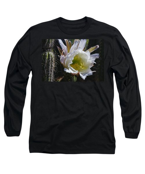 White Cactus Bloom Long Sleeve T-Shirt