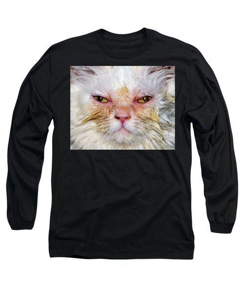 Scary White Cat Long Sleeve T-Shirt