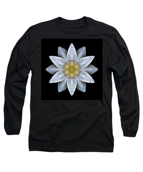 White Clematis Flower Mandala Long Sleeve T-Shirt