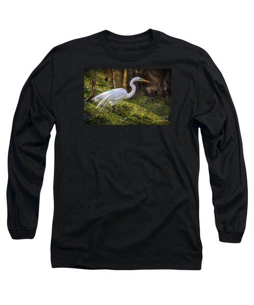White Egret On The Hunt Long Sleeve T-Shirt