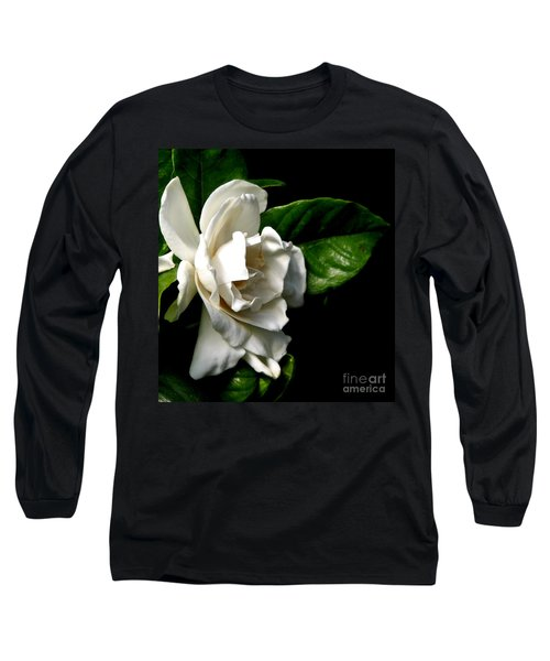 Long Sleeve T-Shirt featuring the photograph White Gardenia by Rose Santuci-Sofranko