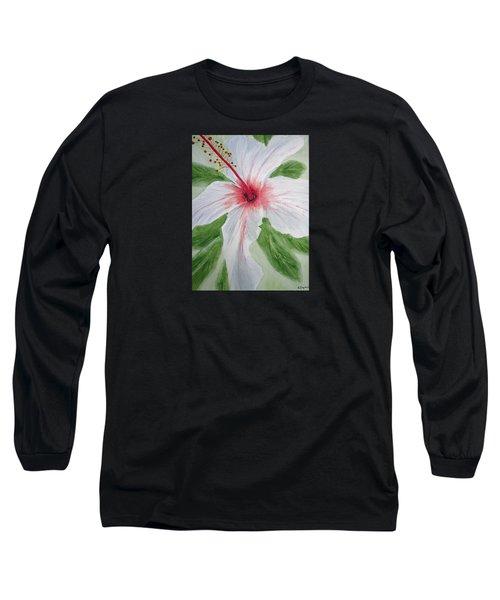 White Hibiscus Flower Long Sleeve T-Shirt by Elvira Ingram