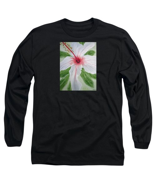 White Hibiscus Flower Long Sleeve T-Shirt