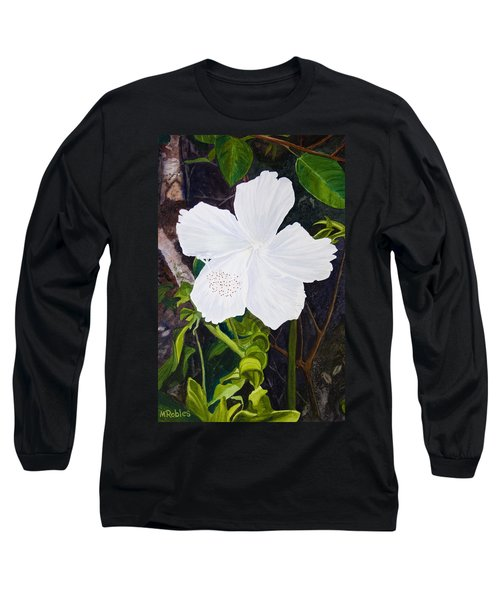 White Hibiscus Long Sleeve T-Shirt by Mike Robles