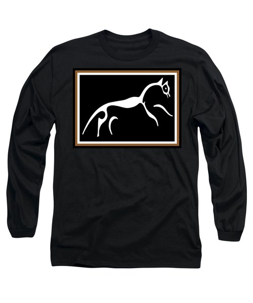 Long Sleeve T-Shirt featuring the digital art White Horse Of Uffington by Vagabond Folk Art - Virginia Vivier