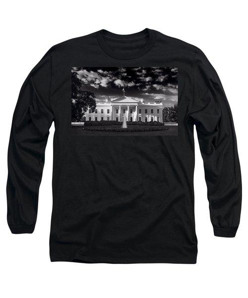 White House Sunrise B W Long Sleeve T-Shirt by Steve Gadomski