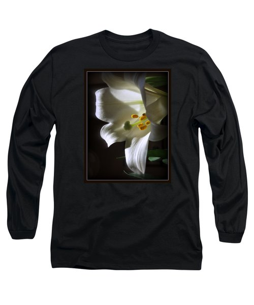 White Lily Long Sleeve T-Shirt by Kay Novy