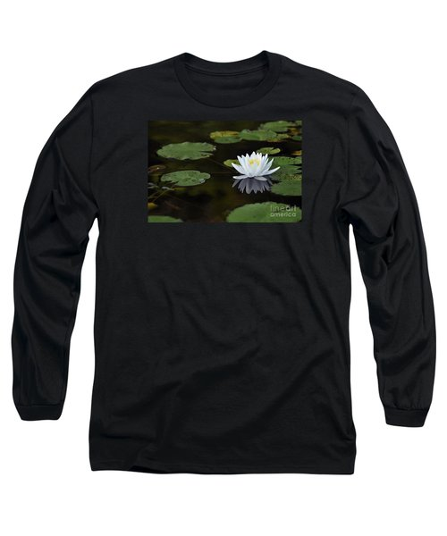 Long Sleeve T-Shirt featuring the photograph White Lotus Lily Flower And Lily Pad by Glenn Gordon