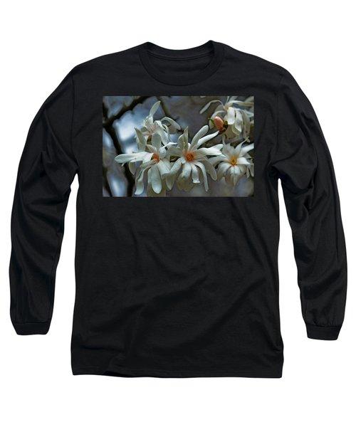 White Magnolia Long Sleeve T-Shirt by Rowana Ray