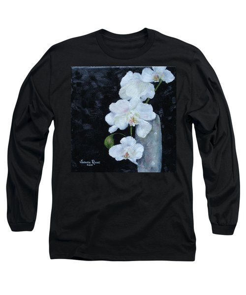 Long Sleeve T-Shirt featuring the painting White Orchid by Judith Rhue