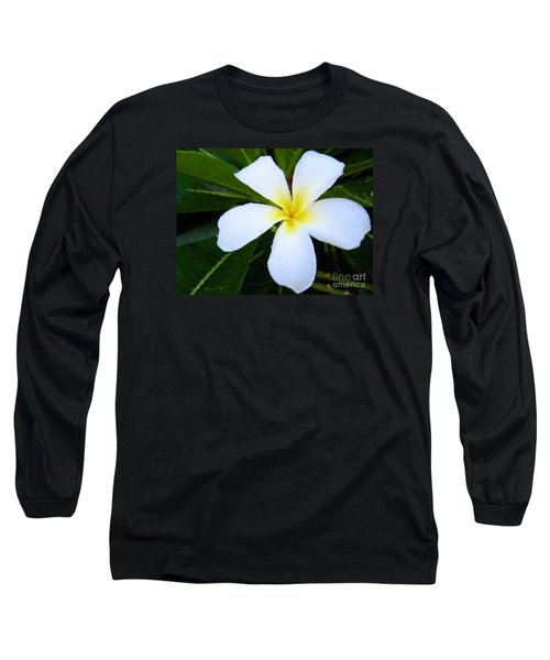 Long Sleeve T-Shirt featuring the mixed media White Plumeria by Anthony Fishburne