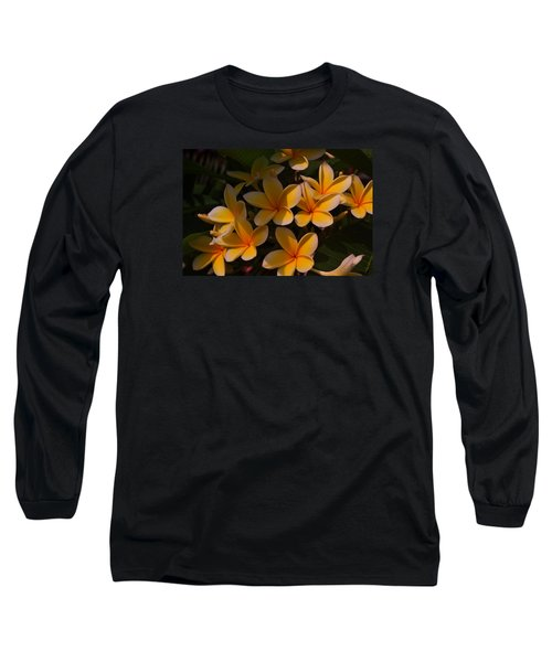 White Plumeria Long Sleeve T-Shirt