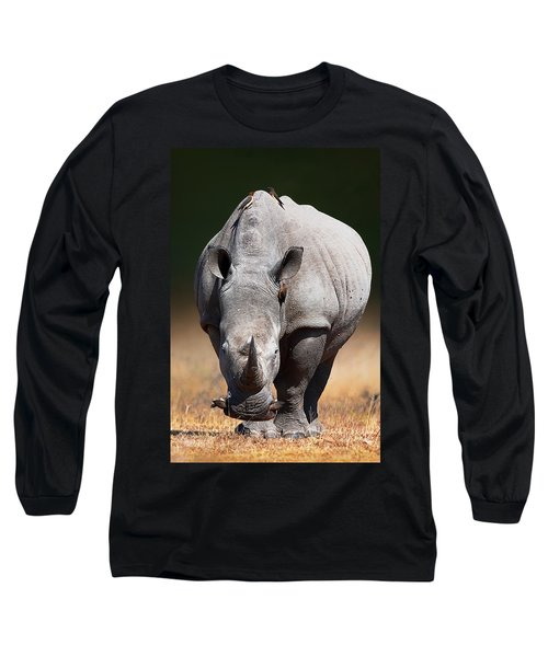 White Rhinoceros  Front View Long Sleeve T-Shirt