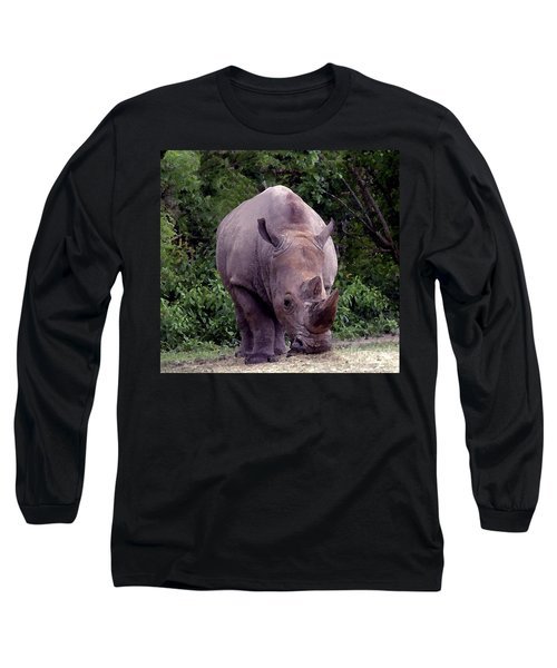 White Rhinoceros Water Coloring Long Sleeve T-Shirt