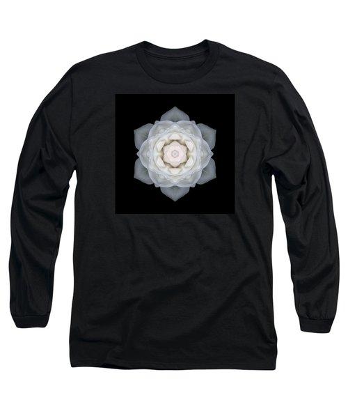 White Rose I Flower Mandala Long Sleeve T-Shirt by David J Bookbinder