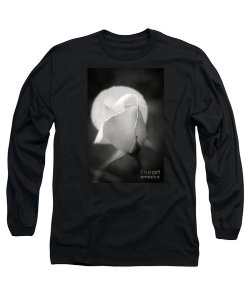 White Rose Moonlight Glow - Black And White Flower Photography Long Sleeve T-Shirt by Ella Kaye Dickey