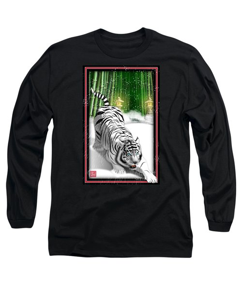 White Tiger Guardian Long Sleeve T-Shirt by John Wills