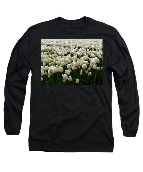 Long Sleeve T-Shirt featuring the photograph White Tulip Field  by Luc Van de Steeg
