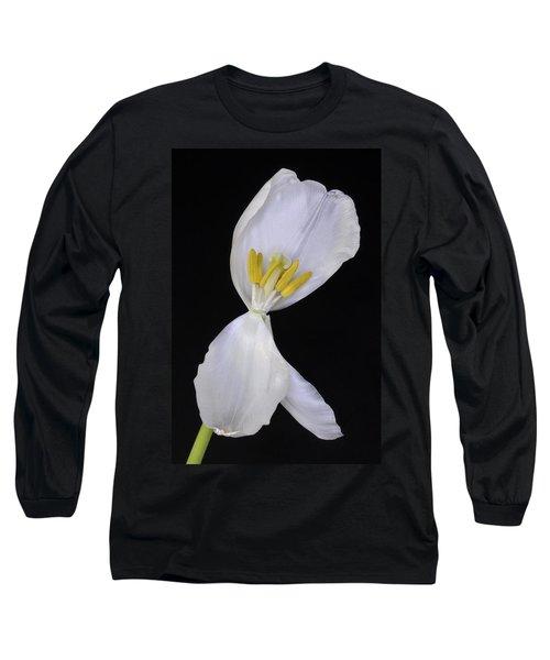 White Tulip On Black Long Sleeve T-Shirt