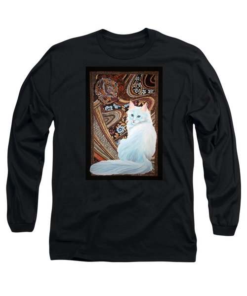 Long Sleeve T-Shirt featuring the painting White Turkish Angora by Leena Pekkalainen