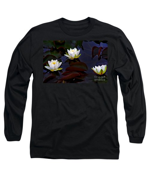 Long Sleeve T-Shirt featuring the photograph White Water Lilies by Nina Ficur Feenan