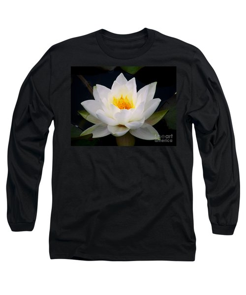 Long Sleeve T-Shirt featuring the photograph White Water Lily by Nina Ficur Feenan