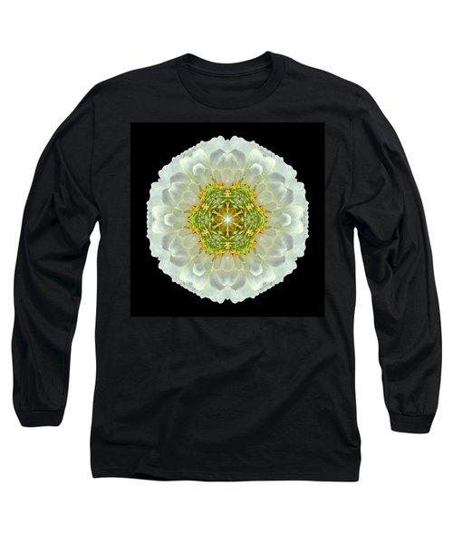 White Zinnia Elegans V Flower Mandala Long Sleeve T-Shirt