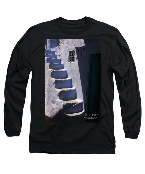 Whitewashed Steps In The Medina Of Asilah On Northwest Tip Of Atlantic Coast Of Morocco Long Sleeve T-Shirt