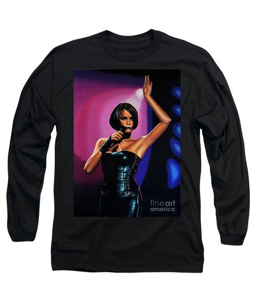 Whitney Houston On Stage Long Sleeve T-Shirt by Paul Meijering