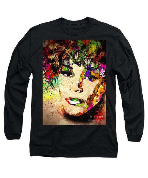 Whitney Houston Long Sleeve T-Shirt by Daniel Janda