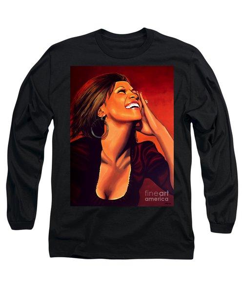Whitney Houston Long Sleeve T-Shirt by Paul Meijering