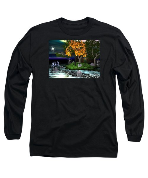 Long Sleeve T-Shirt featuring the digital art Wicked In The Darkest Hours Of Night by Jacqueline Lloyd