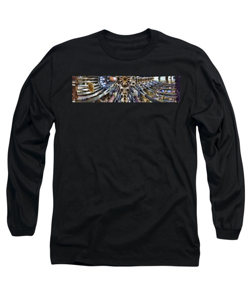 Wide Panorama Of The Interior Ceiling Of Sagrada Familia In Barcelona Long Sleeve T-Shirt