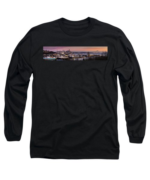 Wider Seattle Skyline And Rainier At Sunset From Magnolia Long Sleeve T-Shirt by Mike Reid