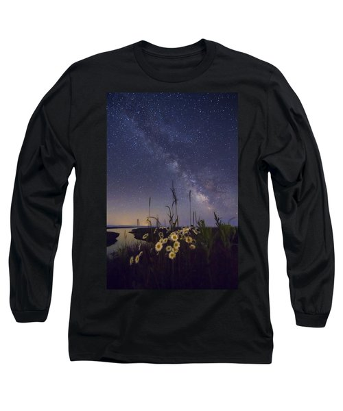 Wild Marguerites Under The Milky Way Long Sleeve T-Shirt by Mircea Costina Photography