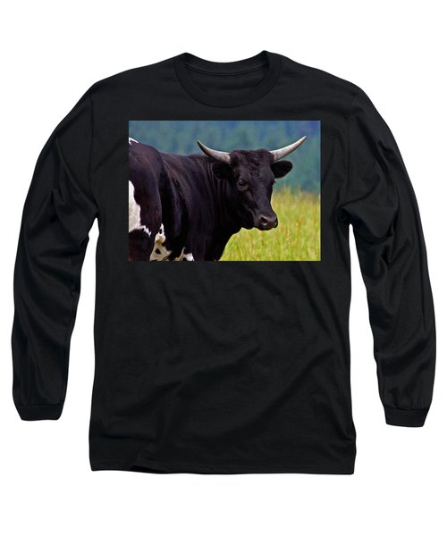 Long Sleeve T-Shirt featuring the painting Wild Type Colored Heifer Longhorn Cow by Karon Melillo DeVega