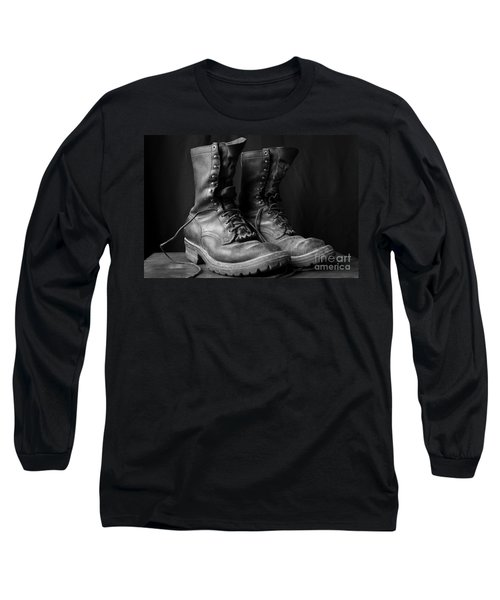 Wildland Fire Boots Still Life Long Sleeve T-Shirt by Kerri Mortenson