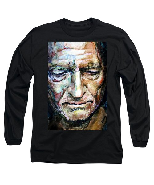 Willie Nelson  Portrait Long Sleeve T-Shirt by Laur Iduc