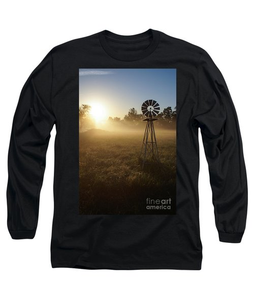 Windmill In The Fog Long Sleeve T-Shirt by Jennifer White