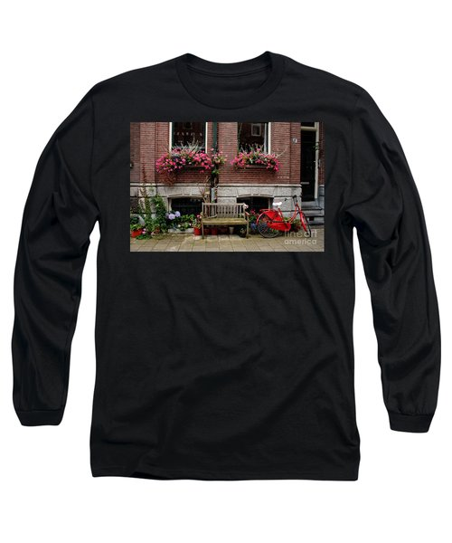 Window Box Bicycle And Bench  -- Amsterdam Long Sleeve T-Shirt