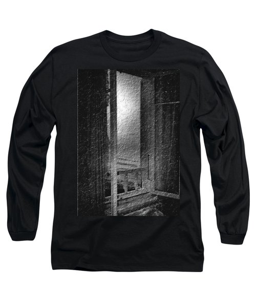 Window Ocean View Black And White Digital Painting Long Sleeve T-Shirt by Cathy Anderson