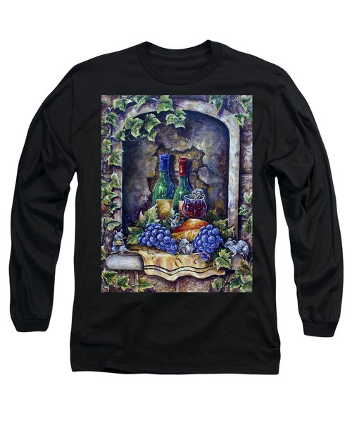 Wine And Cheese Social Long Sleeve T-Shirt by Gail Butler