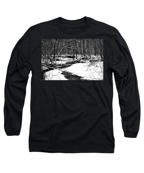 Winter At Pedelo Black And White Long Sleeve T-Shirt by Deena Stoddard