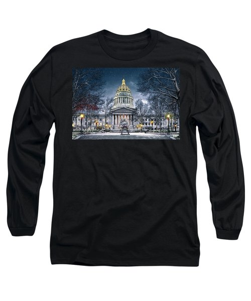 Winter At The Capitol Long Sleeve T-Shirt by Mary Almond
