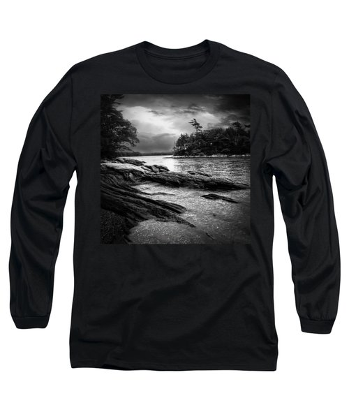Winter Moonlight Wolfes Neck Woods Maine Long Sleeve T-Shirt