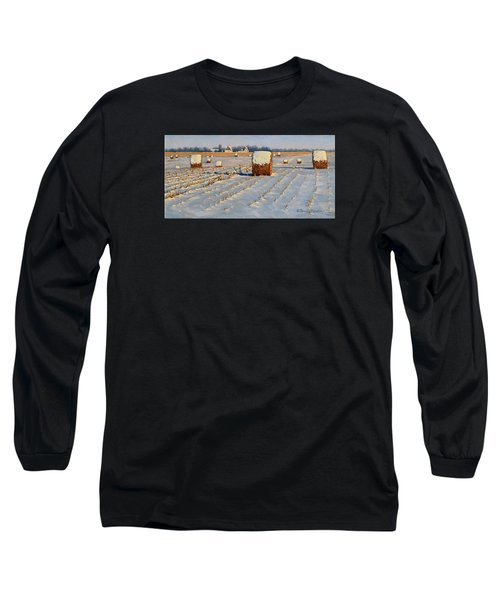 Winter Stubble Bales Long Sleeve T-Shirt by Bruce Morrison