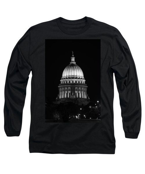 Wisconsin State Capitol Building At Night Black And White Long Sleeve T-Shirt