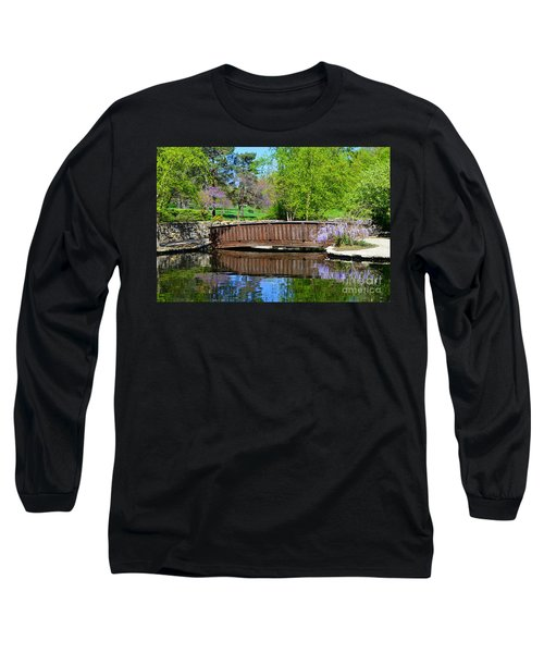 Wisteria In Bloom At Loose Park Bridge Long Sleeve T-Shirt